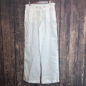 NWT BEULAH Ramie white pants lagenlook lightweight